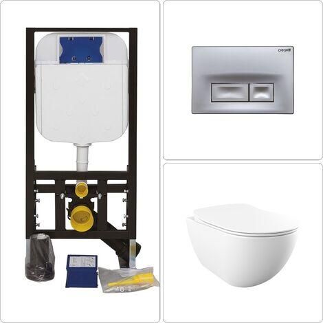 Free Wand WC spülrandlos mit Vorwandelement und Drückerplatte in verschiedenen Varianten