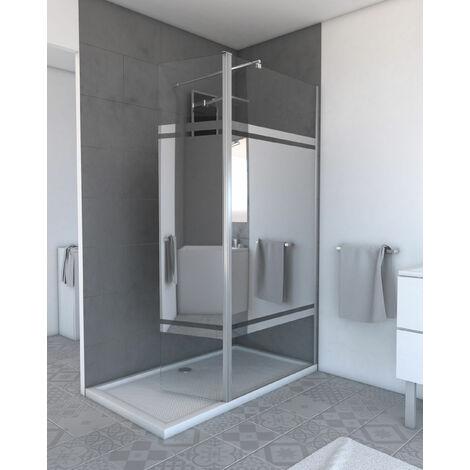 Volet pivotant avec bande miroir pour paroi de douche a l'italienne - 40x200cm VERRE MIROIR 6mm