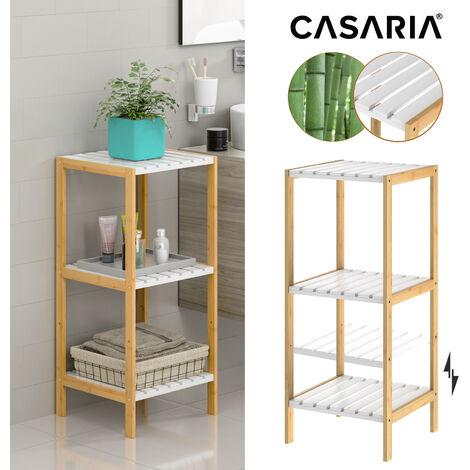 Freestanding Bamboo Bathroom Shelf White