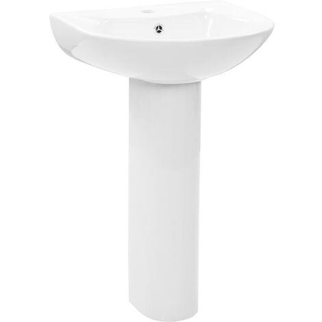 Freestanding Basin with Pedestal Ceramic White 520x440x190 mm