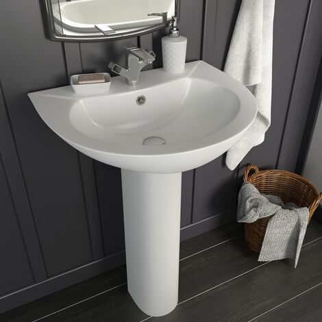 """main image of """"Freestanding Basin with Pedestal Ceramic White 520x440x190 mm4212-Serial number"""""""