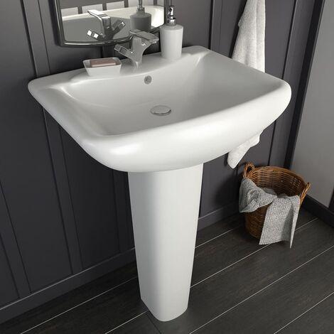 Freestanding Basin with Pedestal Ceramic White 580x470x200 mm