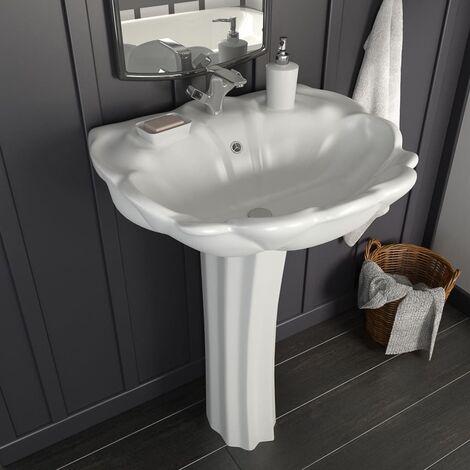 Freestanding Basin with Pedestal Ceramic White 580x510x200mm