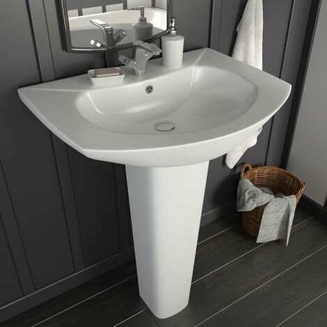 Freestanding Basin with Pedestal Ceramic White 650x520x200 mm