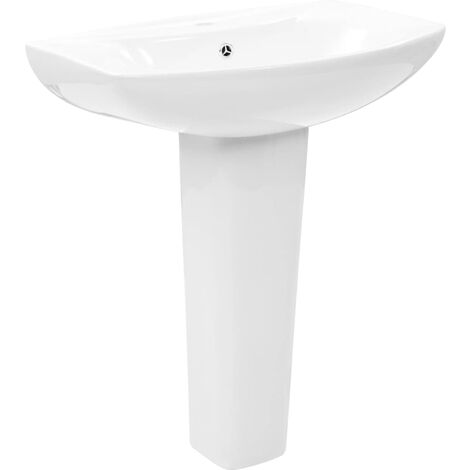 Freestanding Basin with Pedestal Ceramic White 650x520x200 mm