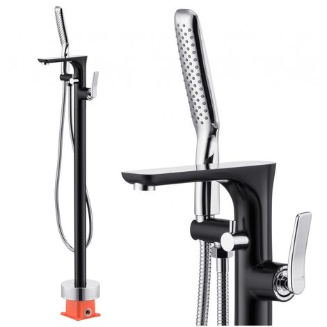 Freestanding bath mixer black bathroom mat