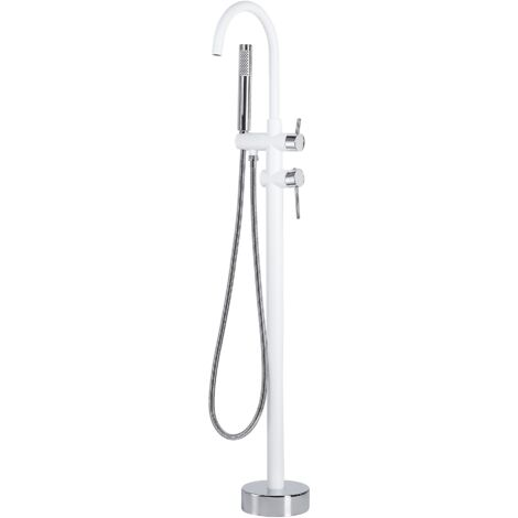Freestanding Bath Mixer Tap White with Silver TUGELA