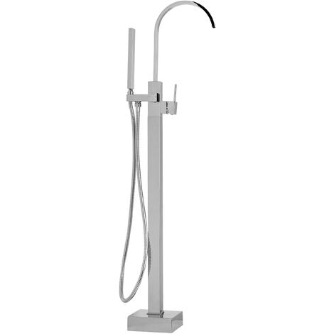 Freestanding Bath Shower Mixer Tap Silver RIBBON