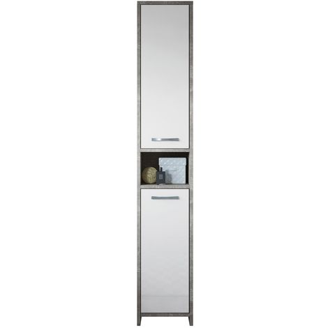 Freestanding bathroom cabinet Nemo tall storage cupboard 167cm concrete with high gloss white bath furniture