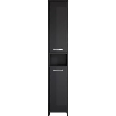 Freestanding bathroom cabinet Nemo tall storage cupboard 167cm high gloss black bath furniture