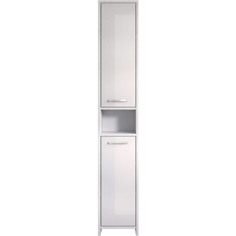 Freestanding bathroom cabinet Nemo tall storage cupboard 167cm high gloss white bath furniture