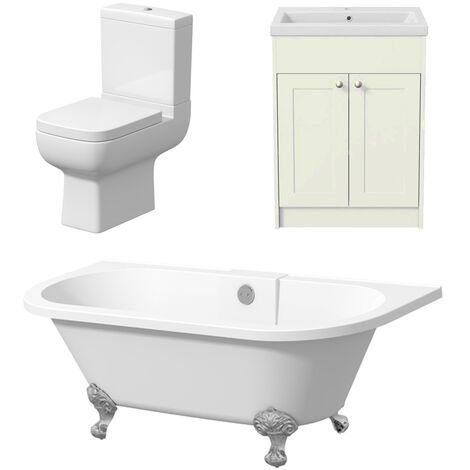 Freestanding Bathroom Suite Toilet Traditional Roll Top Bath Vanity Three Piece