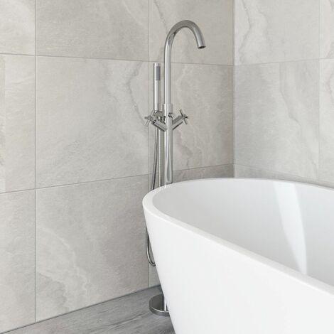 Freestanding Bathroom Tap Bath Shower Mixer Chrome Floor Mounted Free Standing