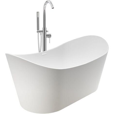 Freestanding Bathtub and Faucet 204 L 118,5 cm Silver