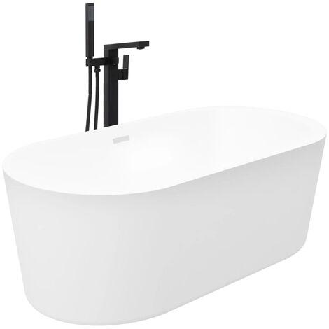 Freestanding Bathtub and Faucet 204 L 90 cm Black