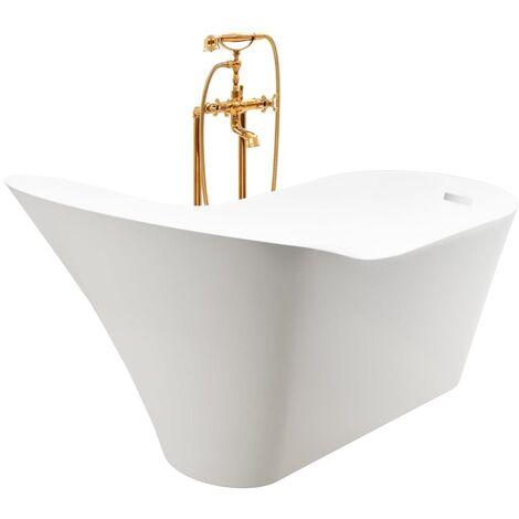 Freestanding Bathtub and Faucet 210 L 99,5 cm Gold