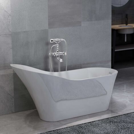 Freestanding Bathtub and Faucet 210 L 99,5 cm Silver