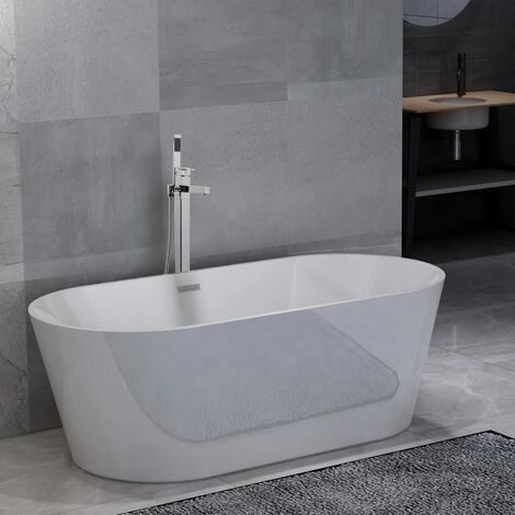 Freestanding Bathtub and Faucet 220 L 110 cm Silver
