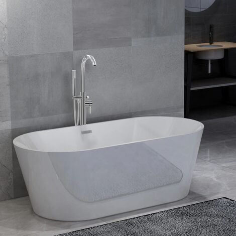 Freestanding Bathtub and Faucet 220 L 118,5 cm Silver