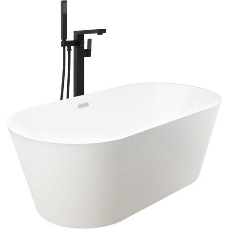 Freestanding Bathtub and Faucet 220 L 90 cm Black