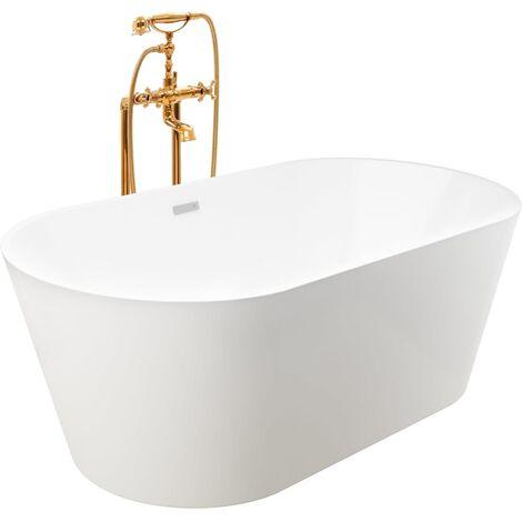 Freestanding Bathtub and Faucet 220 L 99,5 cm Gold