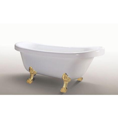 FREESTANDING BATHTUB CLASSIC VINTAGE DESIGN BATH TUB Margherita with Golden Feet 170 x 80 cm