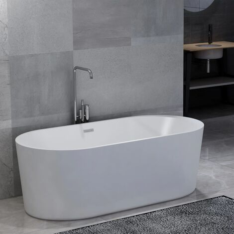 Freestanding Bathtub White Acrylic 204 L