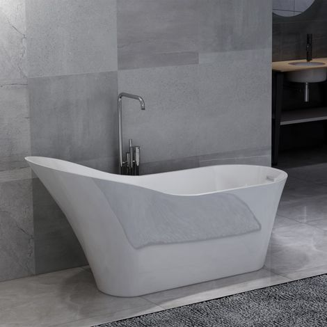Freestanding Bathtub White Acrylic 210 L