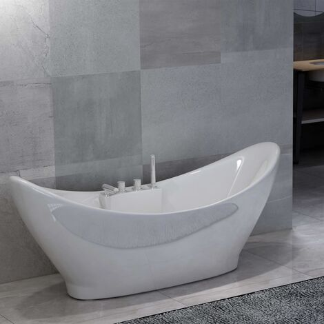 Freestanding Bathtub with Faucet White Acrylic 183 L