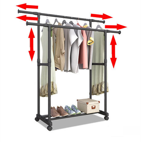 Freestanding Drying Clothes Rack, 2 Rods Telescopic Rail Hanger Coat Rack Stand (90-150cm)