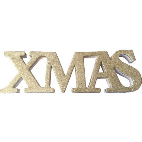 "Freestanding Glitter""Xmas"" Sign in Gold"