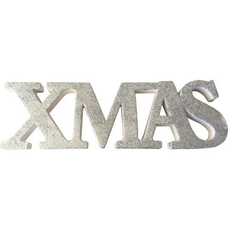 "Freestanding Glitter""Xmas"" Sign in Silver"