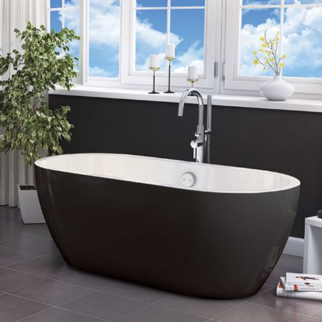 Freestanding Modern Double Ended Bath 1655mm (Black) - Manhattan By Voda Design
