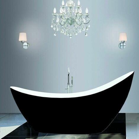 Freestanding Modern Luxury Thin Edged Slipper Bath 1750mm Black - Picasso By Voda Design