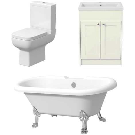 Freestanding Three Piece Bathroom Suite Toilet Traditional Roll Top Bath Vanity