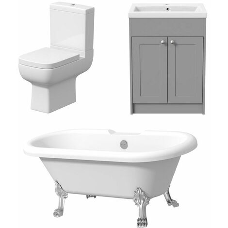 Freestanding Three Piece Taditional Bathroom Suite Grey Vanity Unit Bath Toilet