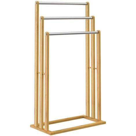 Freestanding Towel Rail Bamboo with Stainless Steel Rails Up to 15kg