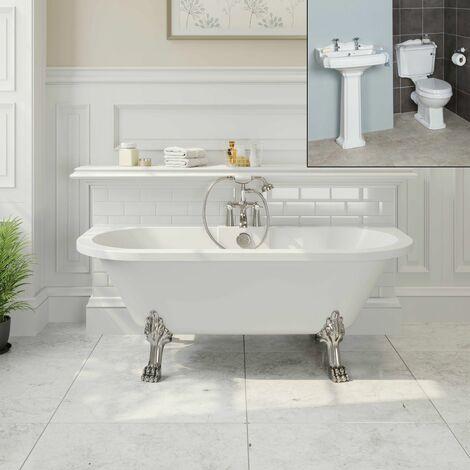Freestanding Traditional Bathroom Suite Roll Top Bath Pedestal Basin & Toilet