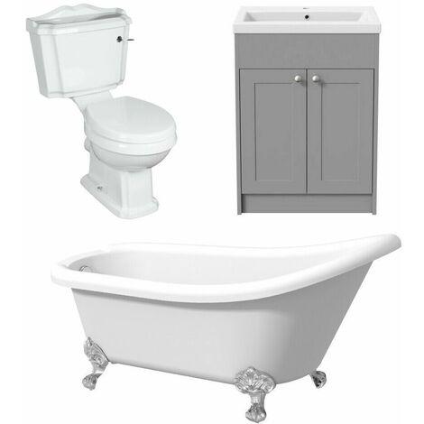 Freestanding Traditional Bathroom suite Three Piece Toilet Vanity Slipper Bath