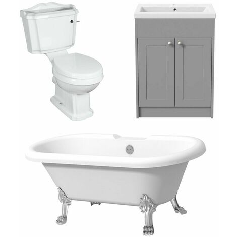 Freestanding Traditional Bathroom Suite Toilet Double End Curve Bath Grey Vanity