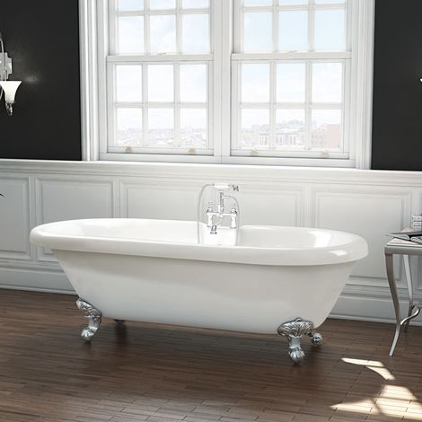 Freestanding Traditional Roll Top Bath 1800mm - Wilmslow By Synergy - size 1800mm - color White