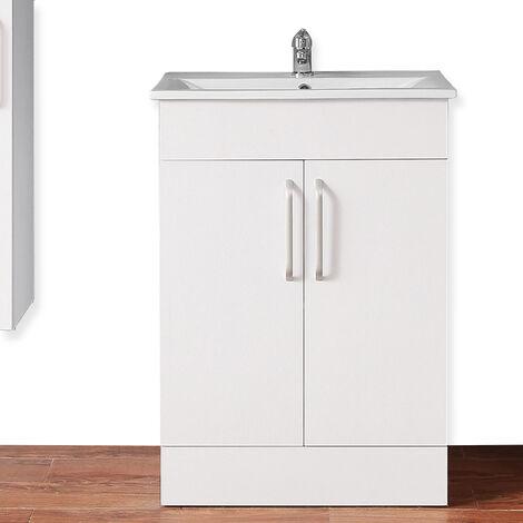 "main image of ""Freestanding Vanity Unit Home Bathroom Sinks 600mm White-2 Doors"""