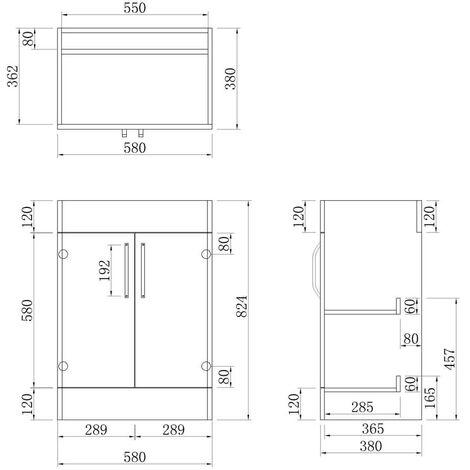 Freestanding Vanity Unit Home Bathroom Sinks 600mm White-2 Doors