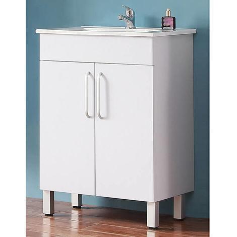 Freestanding Vanity Unit Home Bathroom Sinks 600mm White-2 Doors,Feet