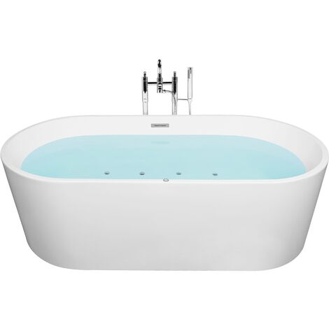 Freestanding Whirlpool Bath with LED 170 cm White HAVANA