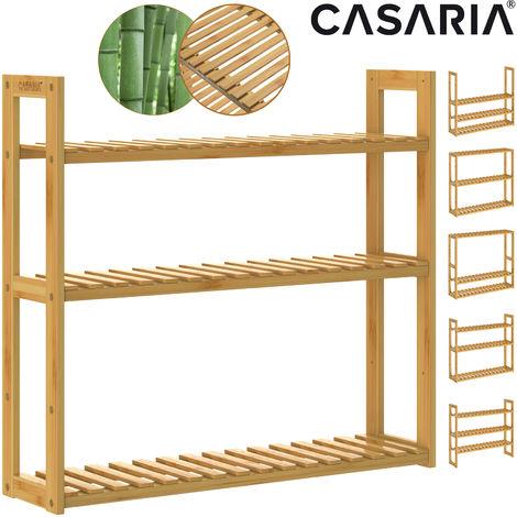 Freestanding Wooden Bamboo Rack 3 Tier Height-adjustable 54x60x15cm Bathroom Living Room Kitchen Wood