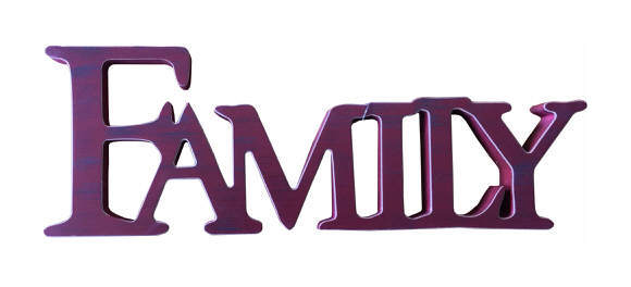 Image of Freestanding'Family' Sign in Red