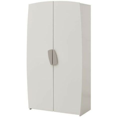 FREEZY Armoire de chambre enfant - 2 Portes - Mdf - Blanc/Gris - L105 x P55 x H190cm