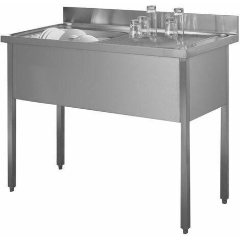 Fregadero de acero inoxidable 140 x 60 una bandeja, una bandeja de goteo a la derecha con soporte