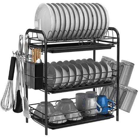 Fregadero de almacenamiento de cocina de gran capacidad con escurridor de ropa de 3 capas